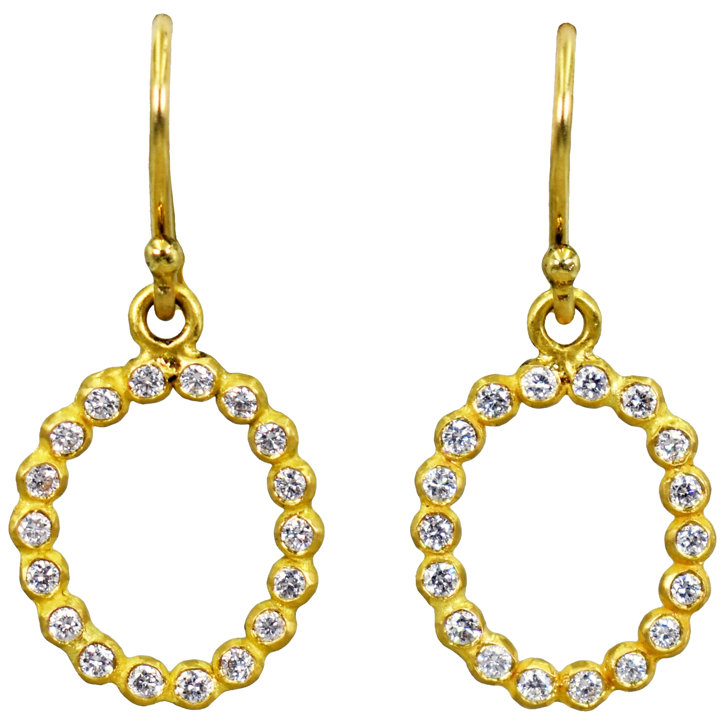 Diamond Halo 22 Karat Gold Dangle Earrings