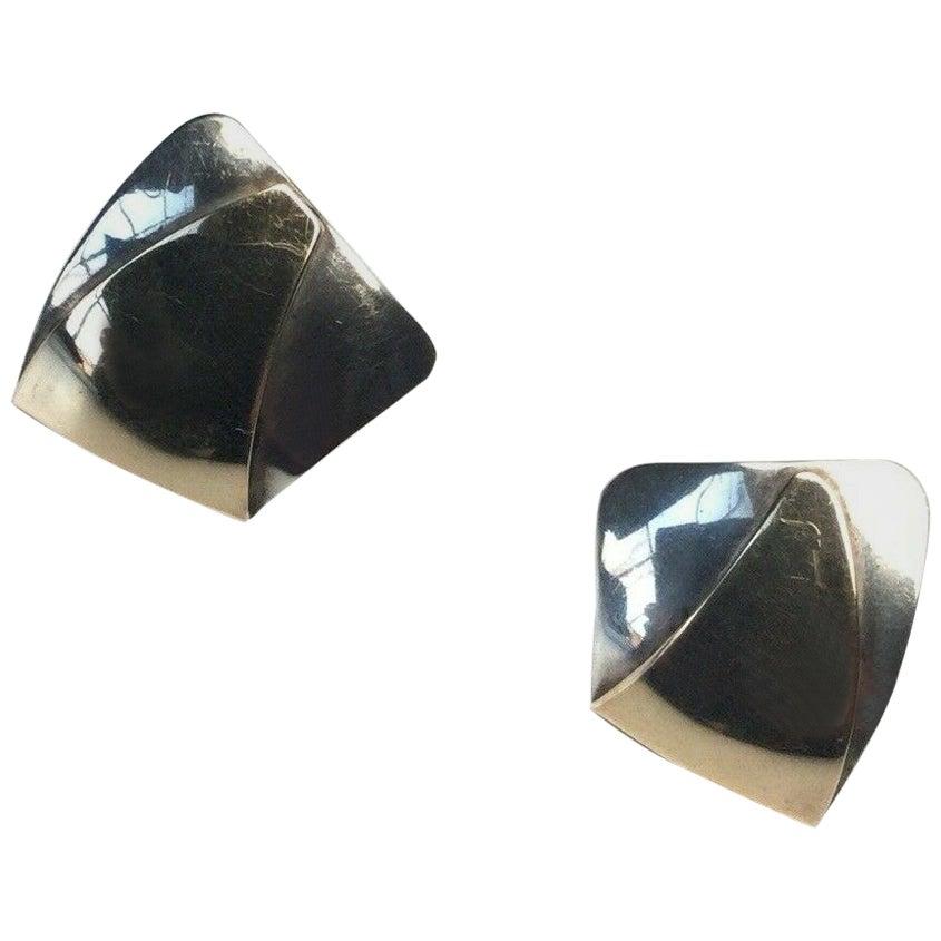 Ed Levin Modernist 14 Karat Sterling Silver Modernist Earrings