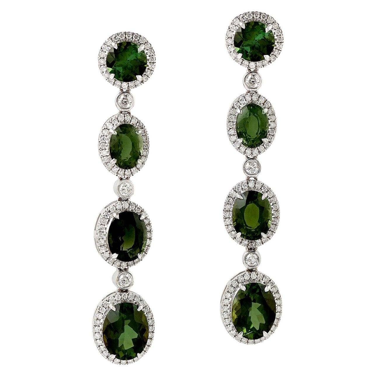 10.86 Carat Green Tourmaline Diamond 18 Karat Gold Earrings