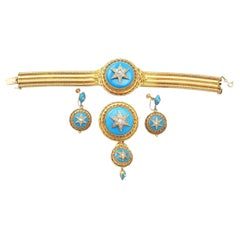 Early Victorian Hunt & Roskell 1.82 Carat Diamond Turquoise Gold Jewelry Set