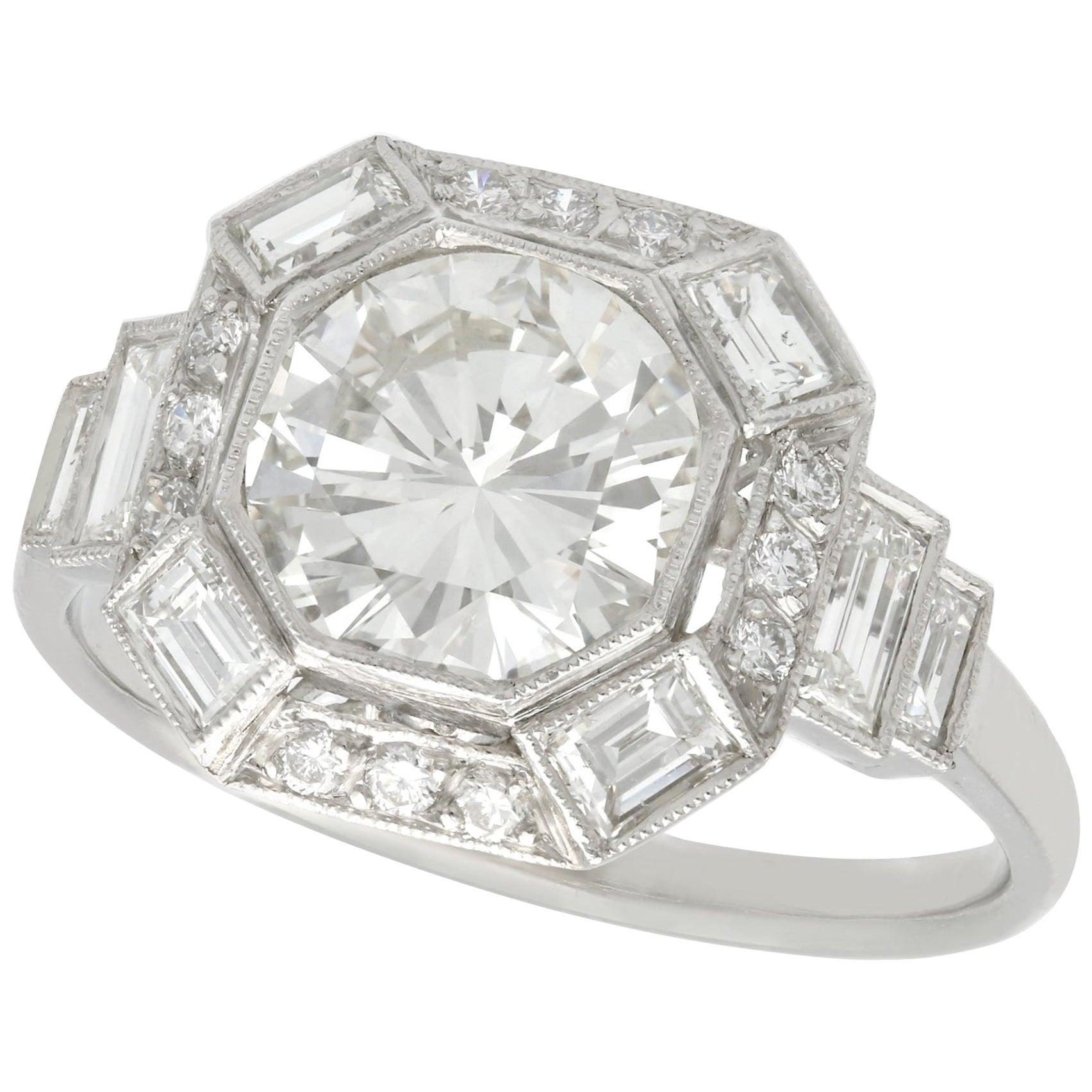 Art Deco Style 2.58 Carat Diamond and Platinum Engagement Ring