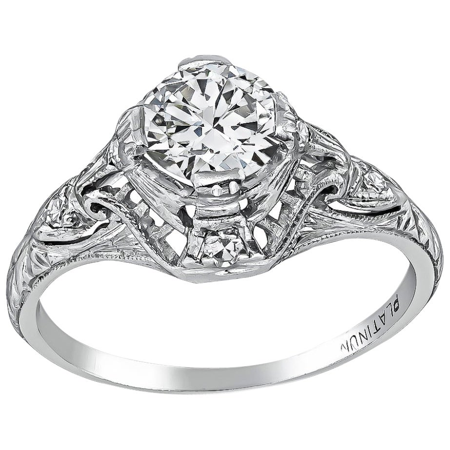 Art Deco GIA Certified 0.71 Carat Diamond Platinum Engagement Ring