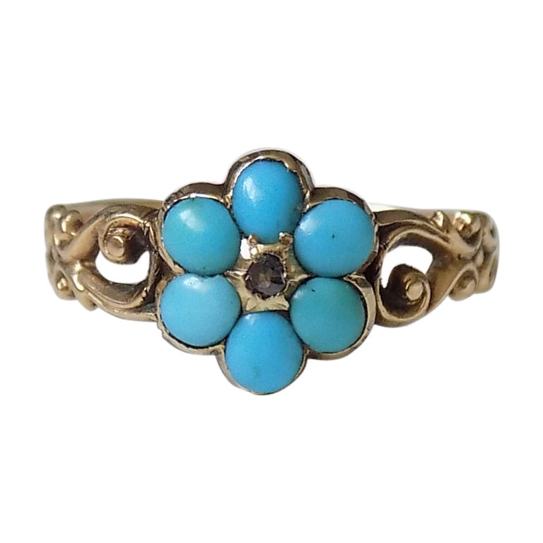 Antique Victorian 15 Karat Gold Turquoise Diamond Forget Me Not Ring