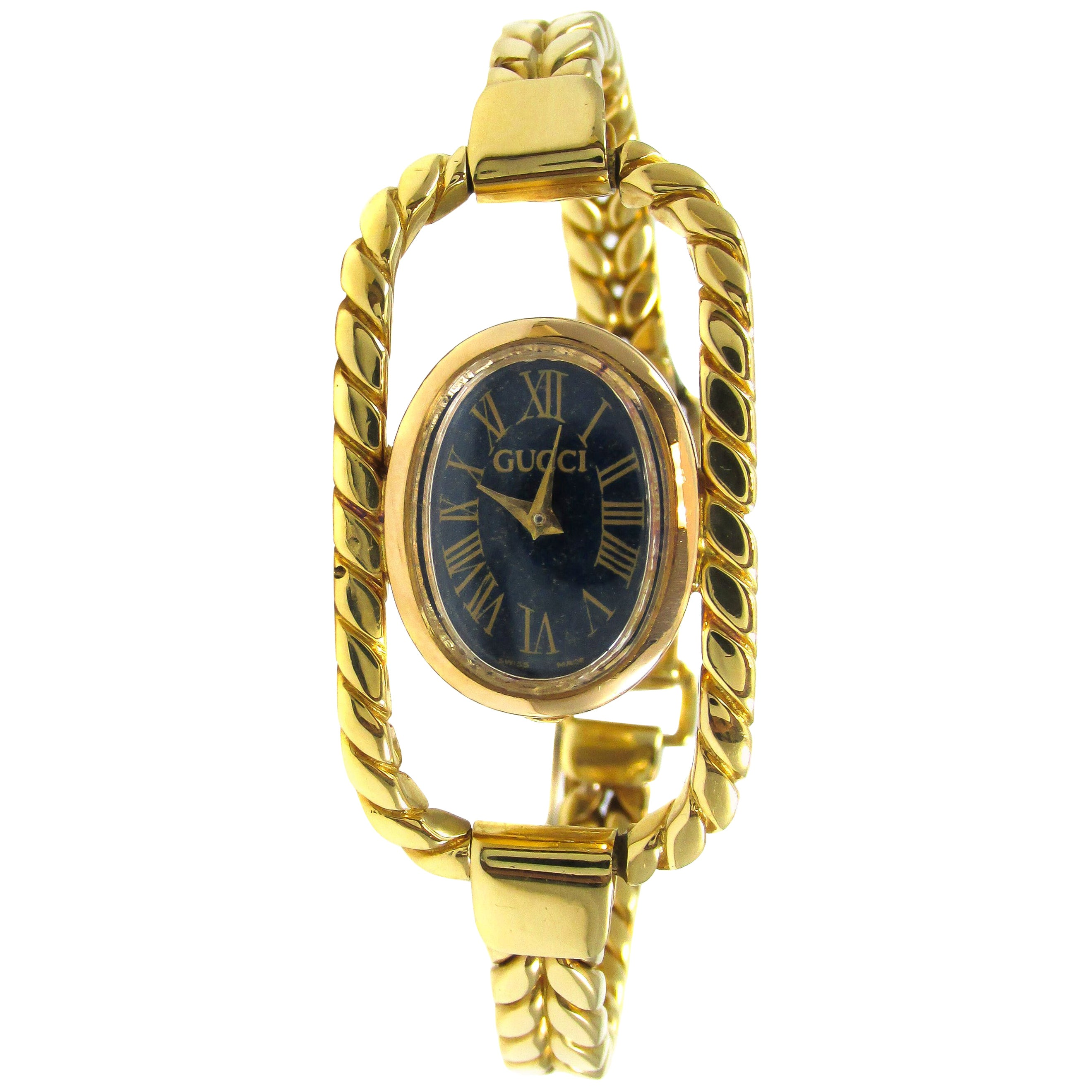 Gucci Ladies Yellow Gold Lapis Bracelet Mechanical Wristwatch