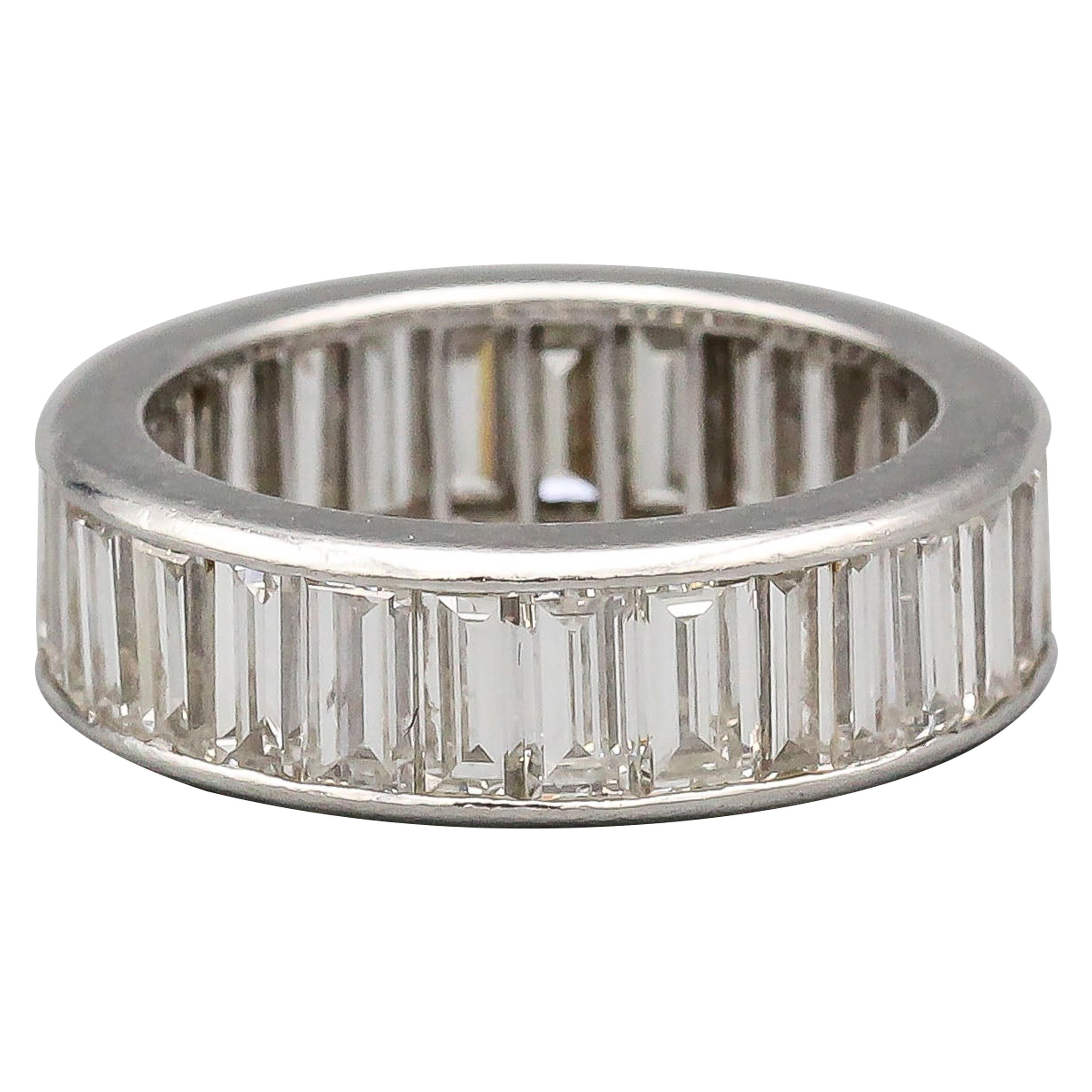 Baguette Diamond and Platinum Band Ring