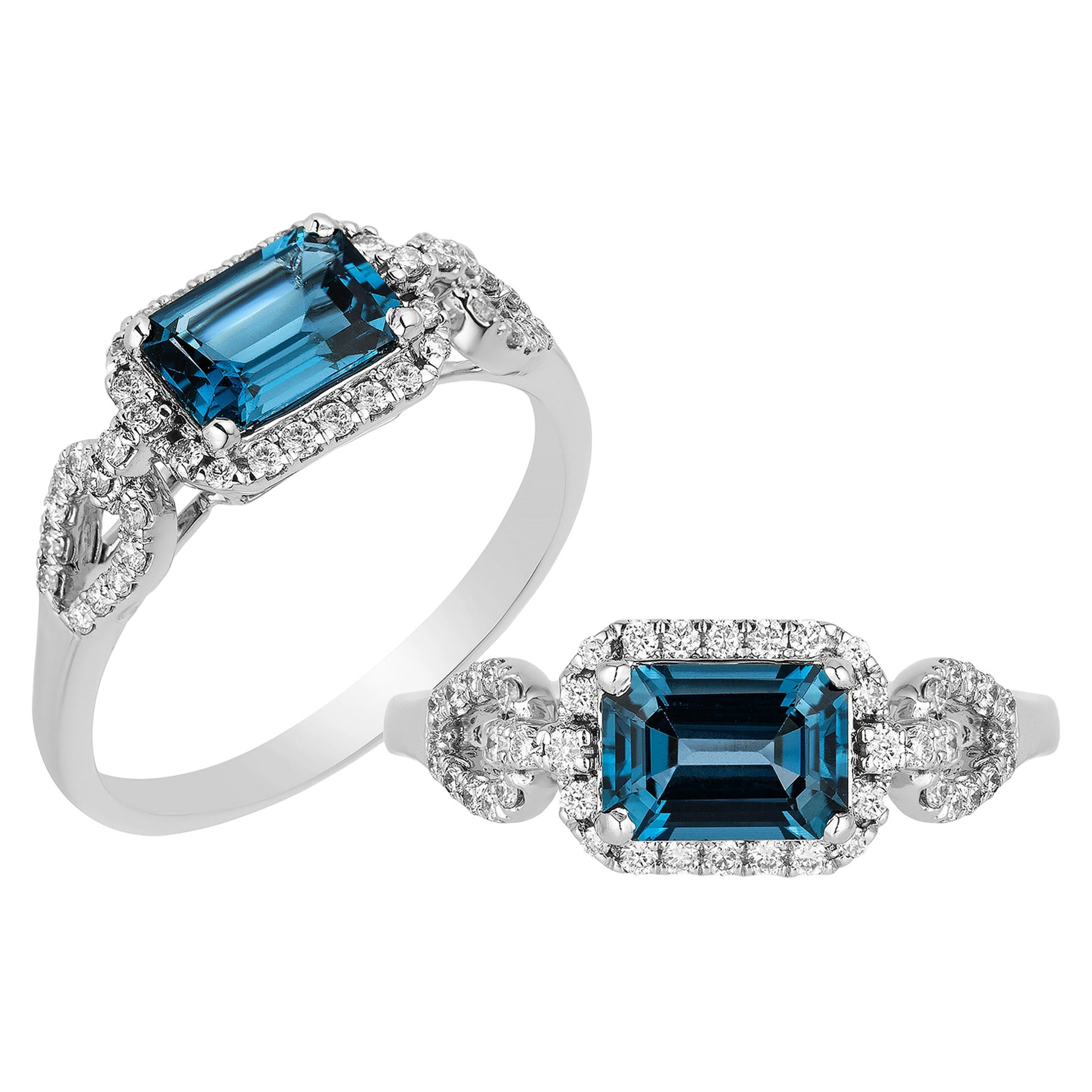 Goshwara Emerald Cut London Blue Topaz And Diamond Ring