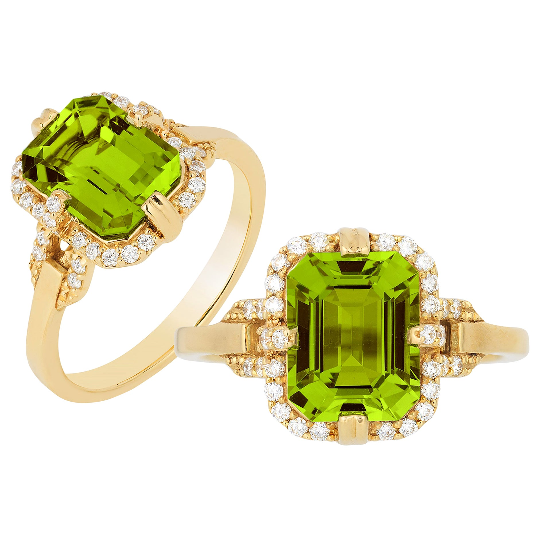 Goshwara Emerald Cut Peridot And Diamond Ring