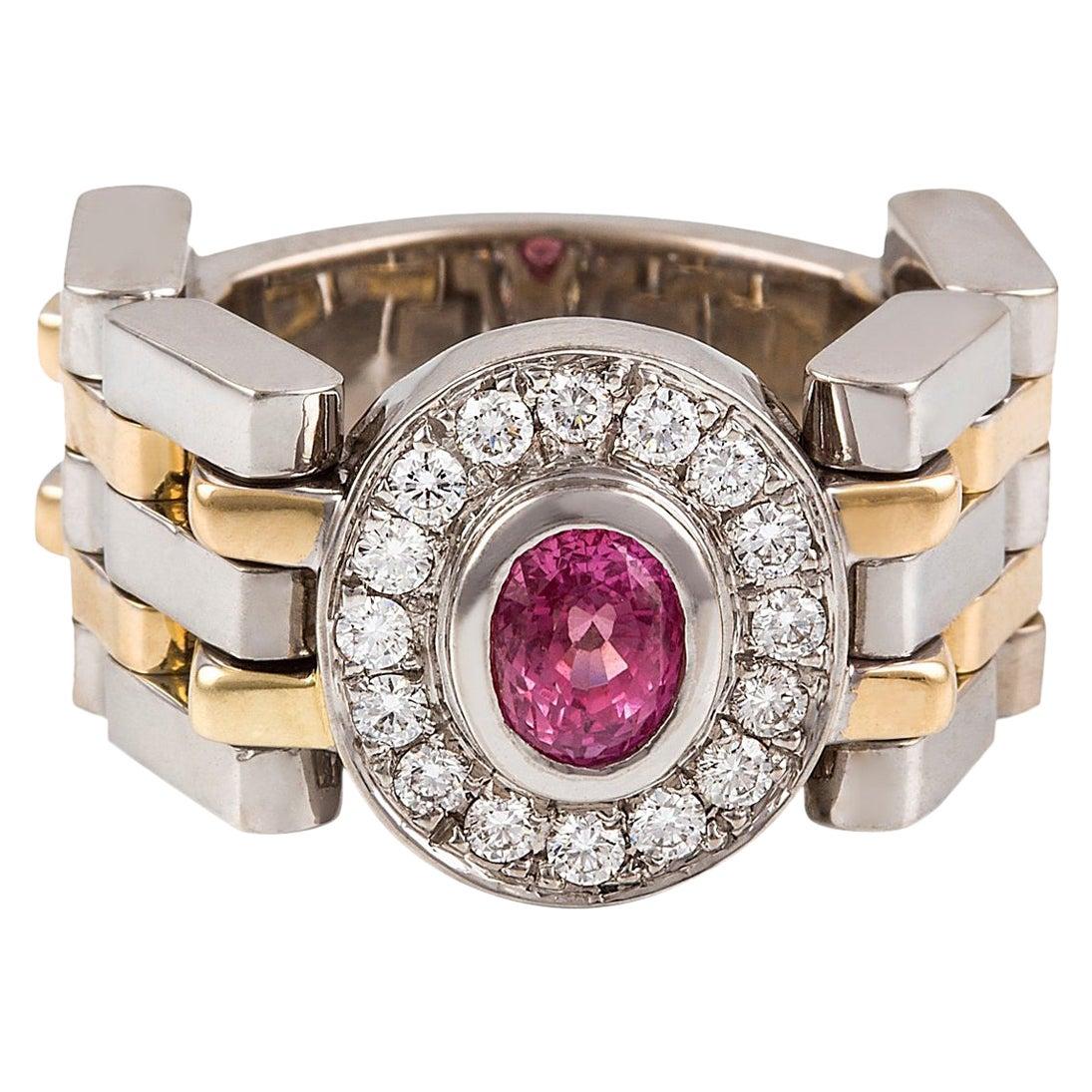 Kian Design Padparadascha Sapphire and Diamond Engagement Ring 18 Carat Gold