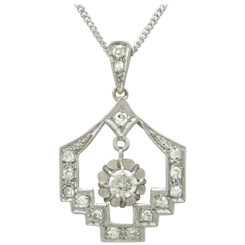 Antique Art Deco 1920s Diamond and Platinum Pendant
