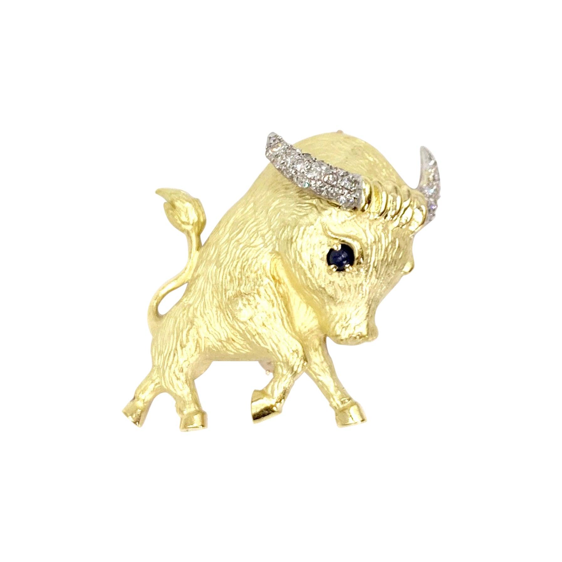 18 Karat Gold and Diamond Bull Brooch