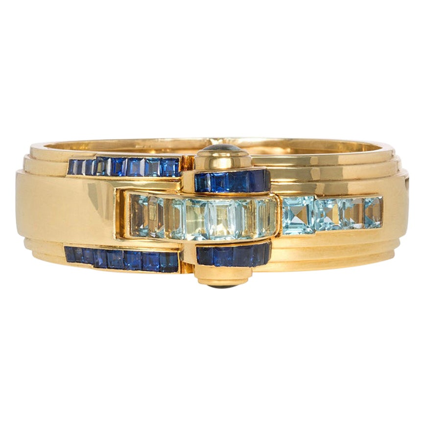 Ghiso, France 1940s Gold, Aquamarine, and Sapphire Bracelet Watch