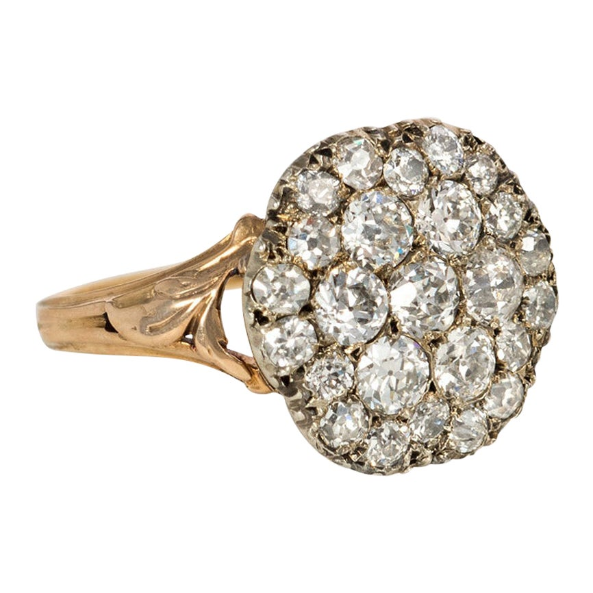 Late Georgian Gold and Diamond Cluster Ring