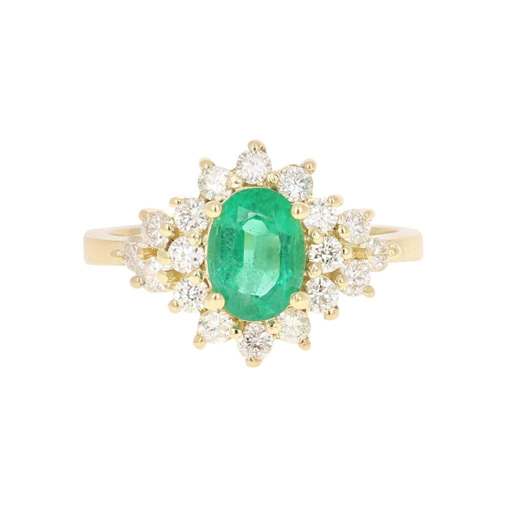 1.85 Carat Emerald Diamond 18 Karat Yellow Gold Engagement Ring GIA Certified