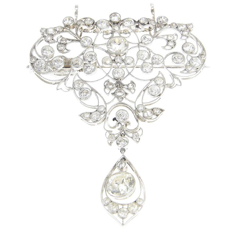 Belle Époque Diamond Platinum Floral Brooch Pendant For Sale