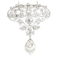 Belle Époque Diamond Platinum Floral Brooch Pendant