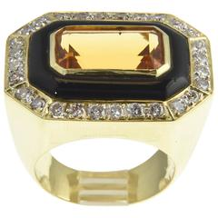 Late 20th Century Geometric Citrine Onyx Diamond Gold Cocktail Ring