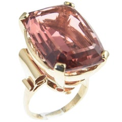 Large Rare Color Peach Pink Tourmaline Gold Cocktail Ring