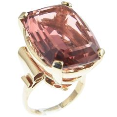 Large High Quality Peach Pink Tourmaline Gold Cocktail Ring
