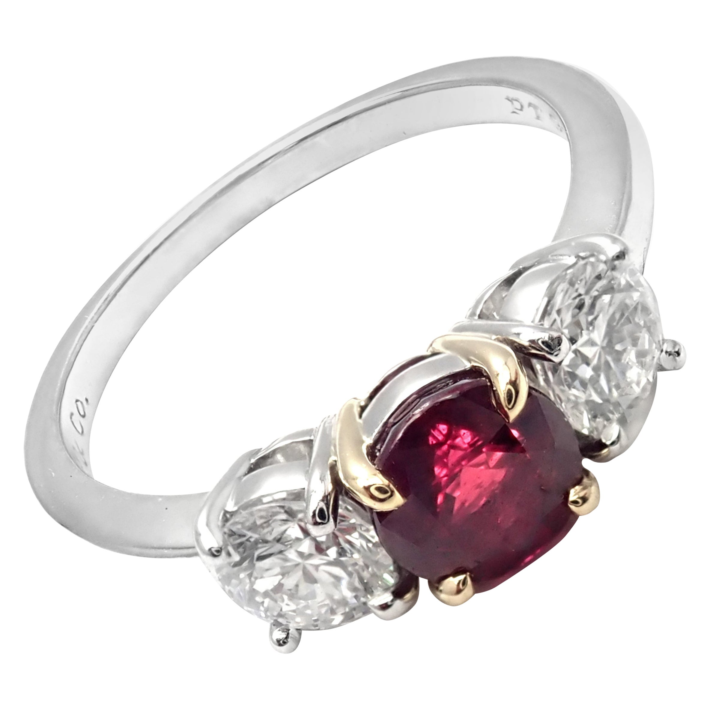 Tiffany & Co. Three-Stone Diamond Ruby Platinum Yellow Gold Band Ring