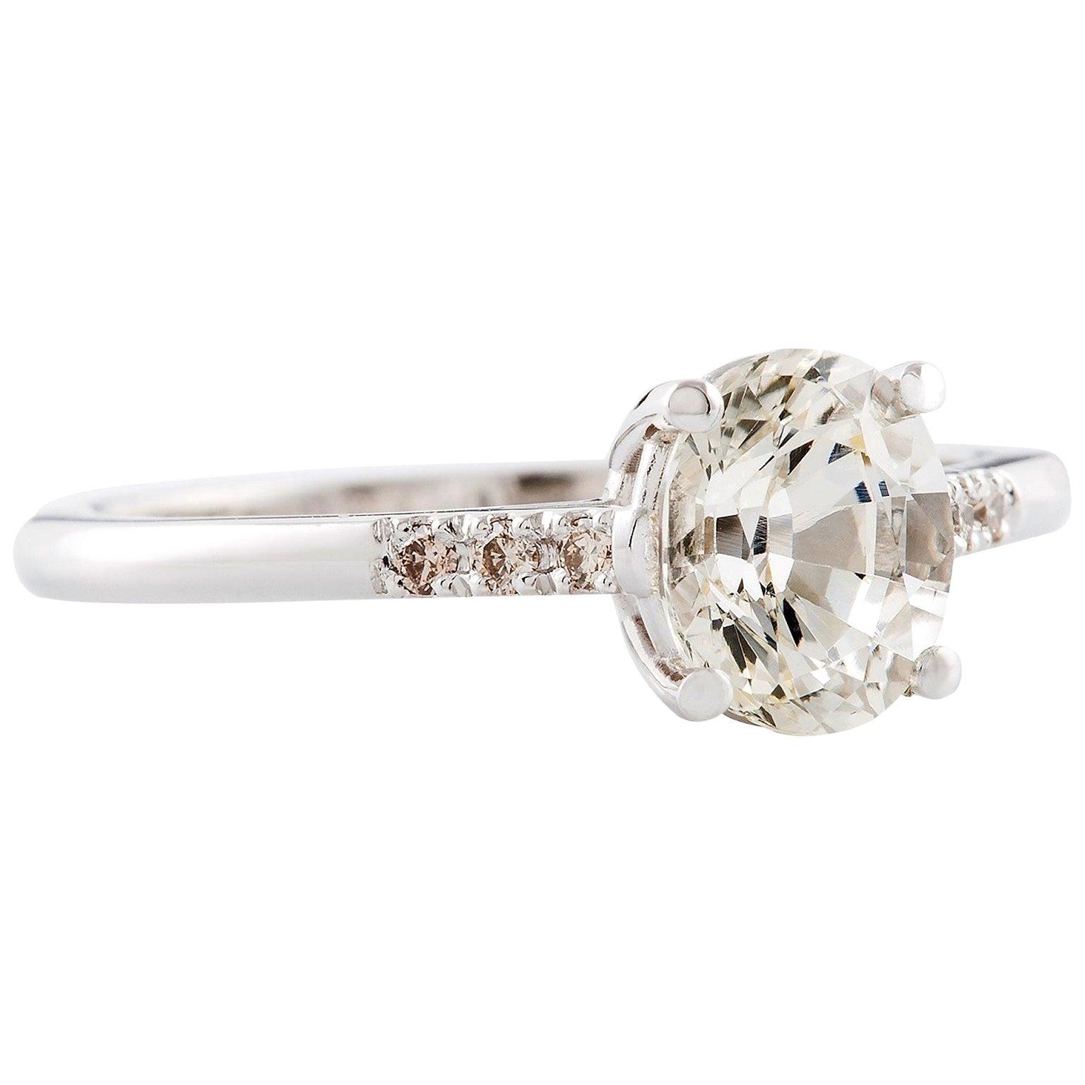 Kian Design 1.54 Carat Oval White Sapphire and Diamond Ring 18 Carat White Gold
