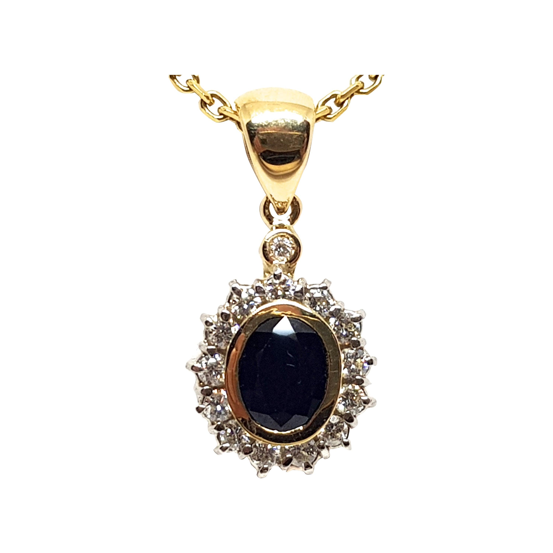 2.56 Carat Yellow Gold Necklace Diamond Sapphire Pendant