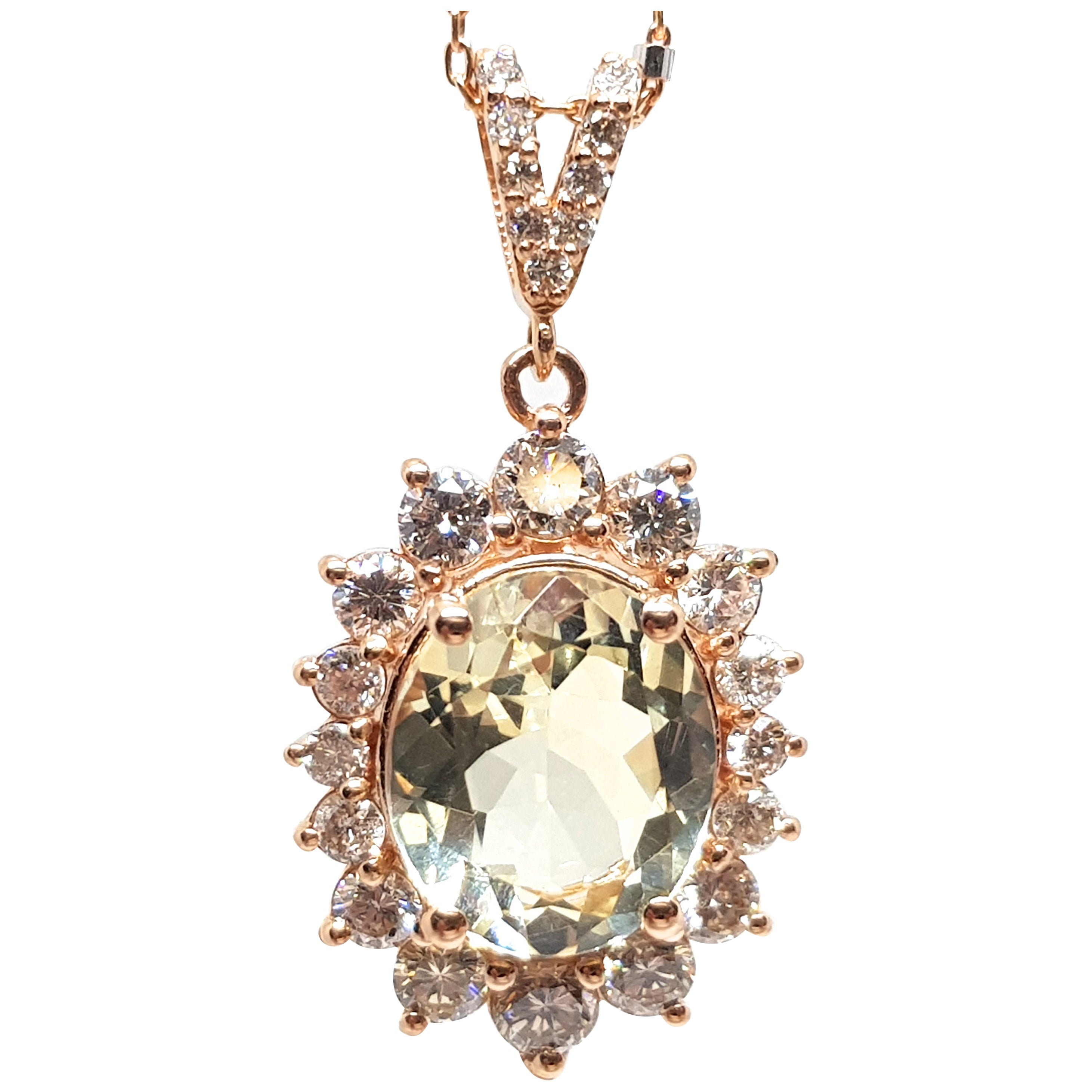 6.00 Carat Rose Gold Necklace Diamond Golden Beryl Pendant