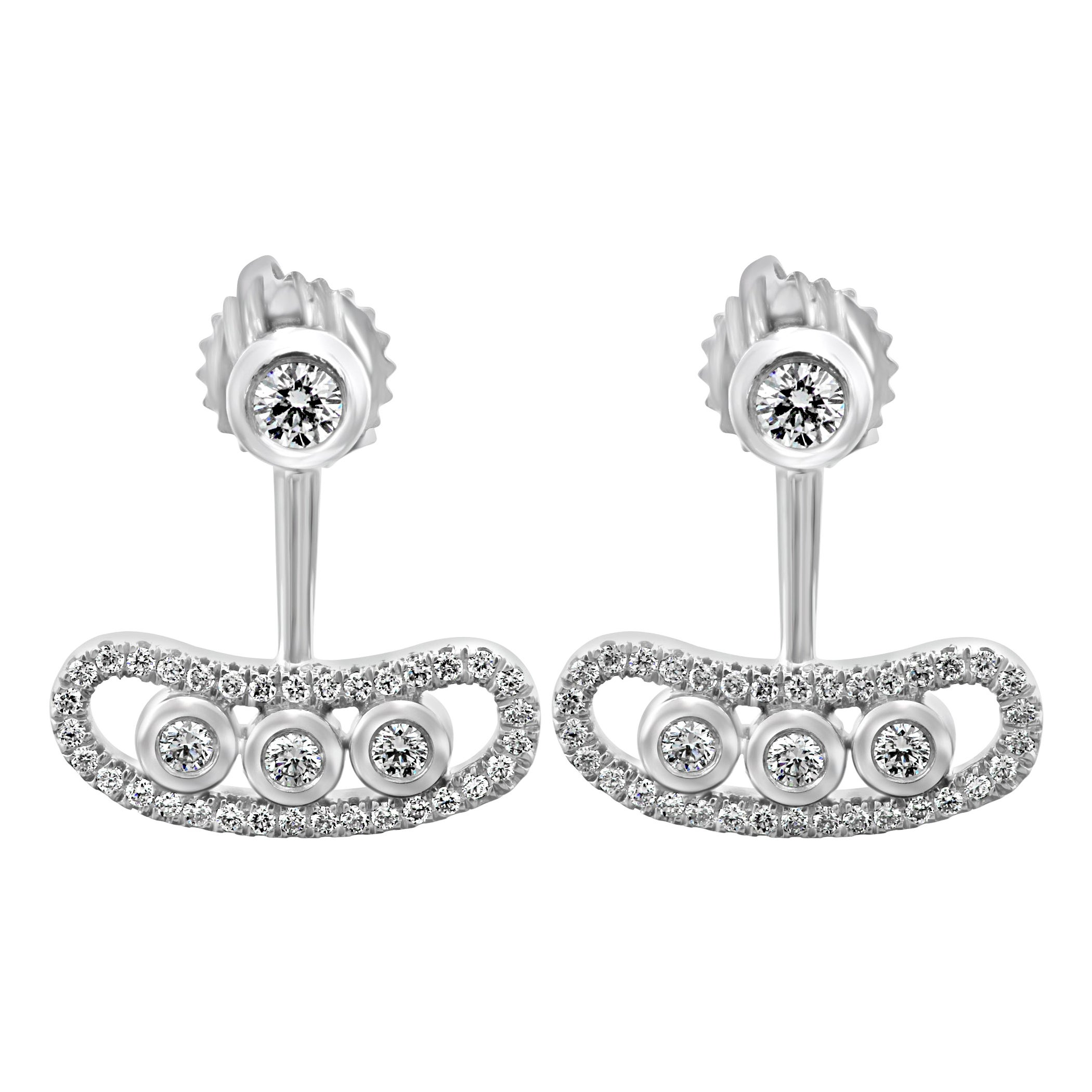 Round White Diamond 0.75 Carat Total 14 Karat Gold Fashion Drop Dangle Earring