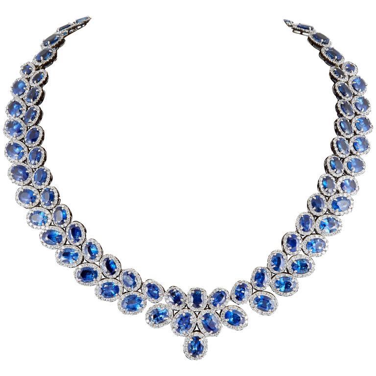 Fabulous 74 carat Sapphire Diamond gold Necklace 1