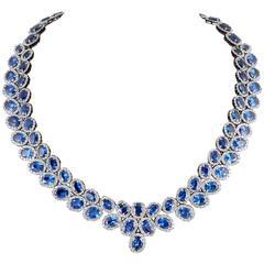 Fabulous 74 carat Sapphire Diamond gold Necklace