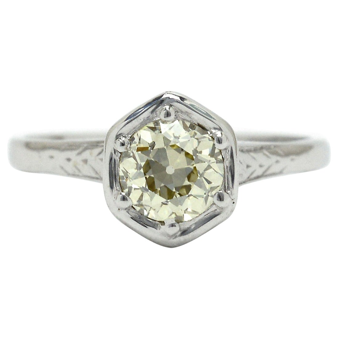 100 Year Old Antique Art Deco Engagement Ring Diamond Solitaire Old Mine Cut