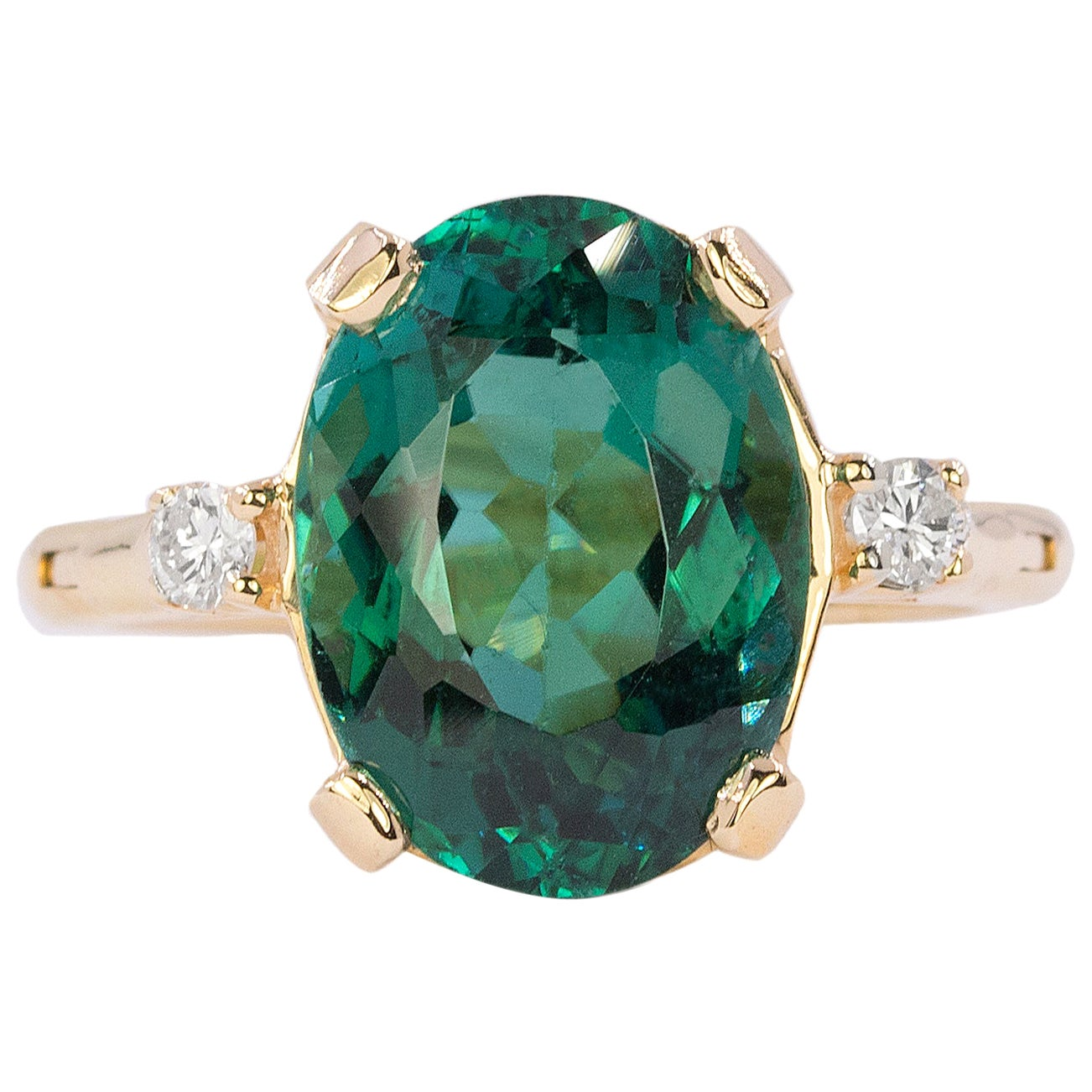 Yellow Gold Ring with 8.32 Carat Blue-Green Tourmaline
