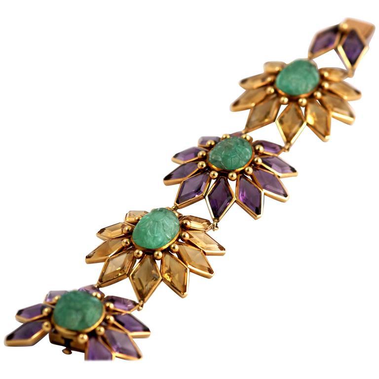 Chunky Citrine Amethyst Carved Emerald Gold Link Bracelet