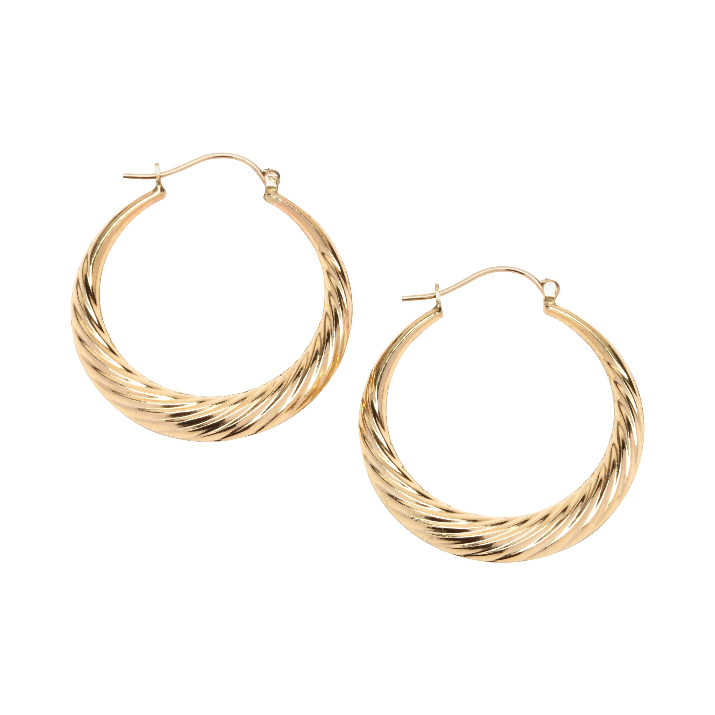 14 Karat Gold Twisted Hoop Earrings