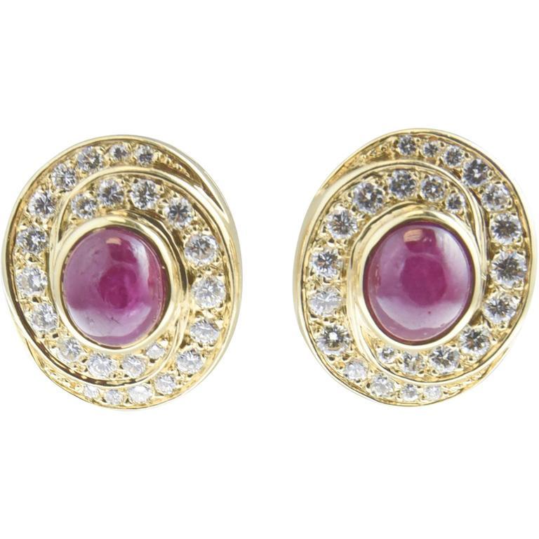 Burma Ruby and Diamond Swirl Gold  Earclips 1