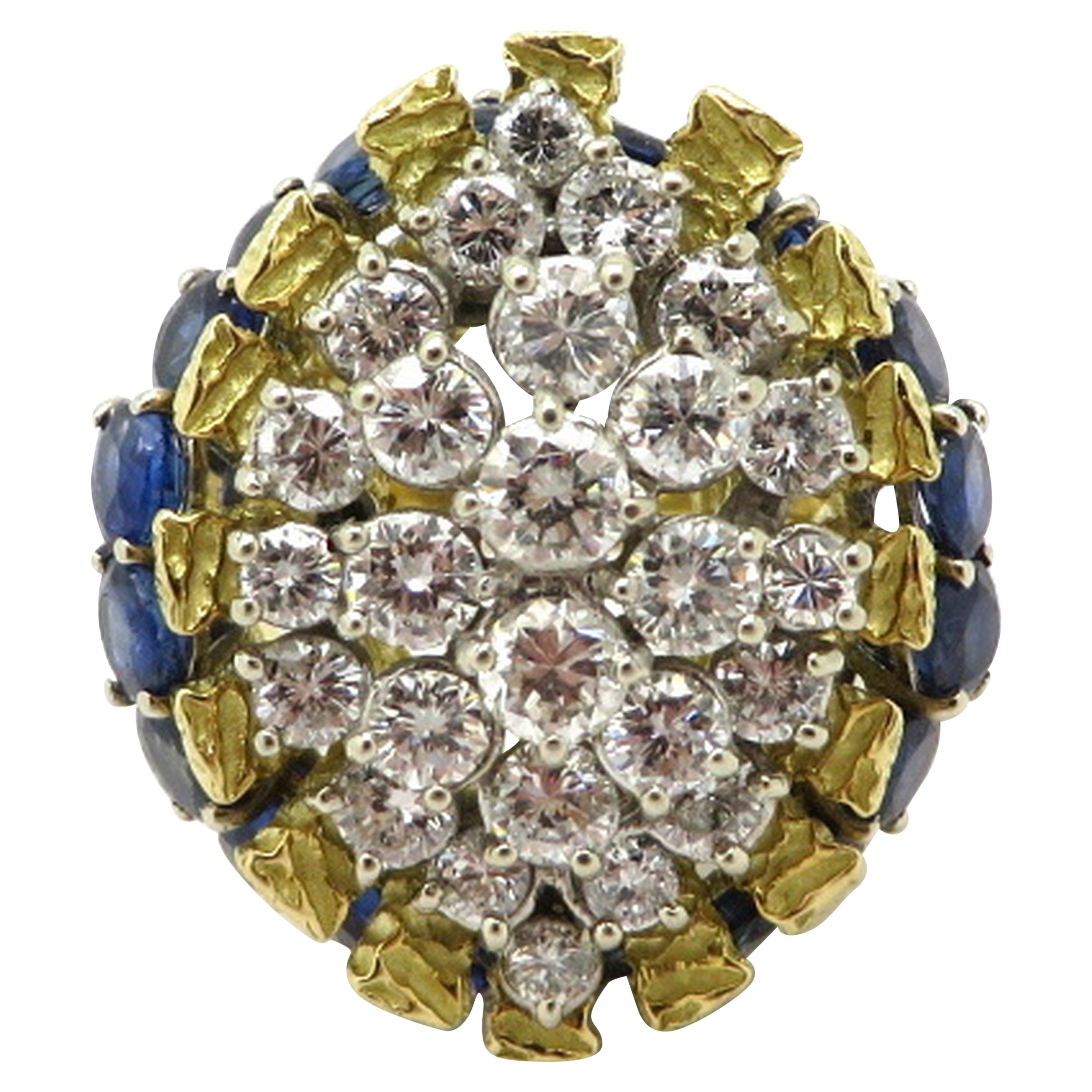 Estate Platinum and 18 Karat Gold 3.00 Carat Diamond and Sapphire Cluster Ring