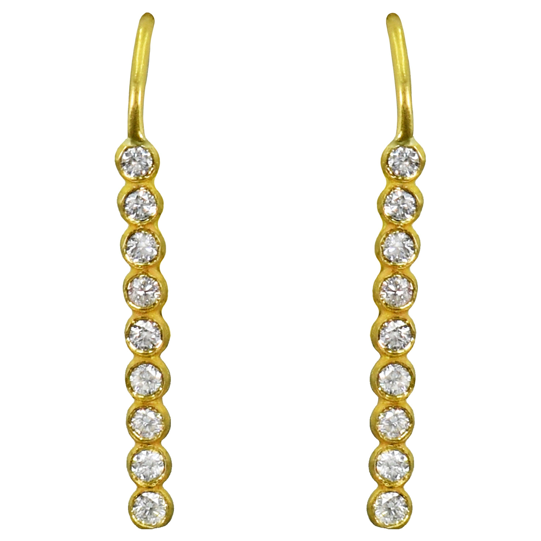 9 Diamond 22 Karat Gold Bar Drop Earrings