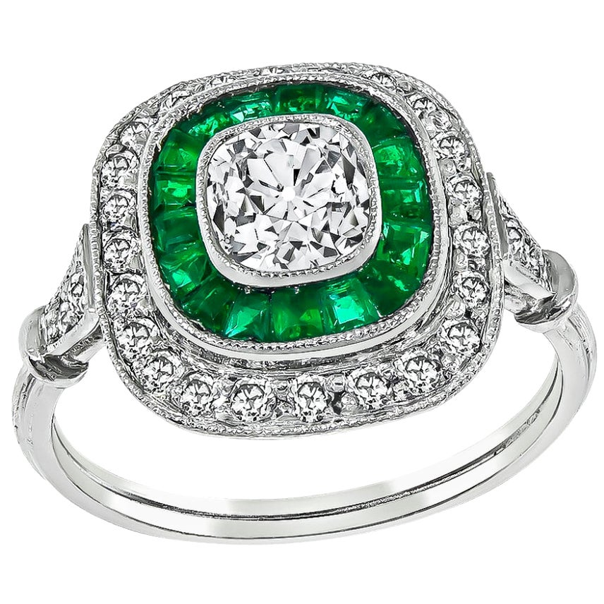 Vintage Diamond Emerald Halo Engagement Ring
