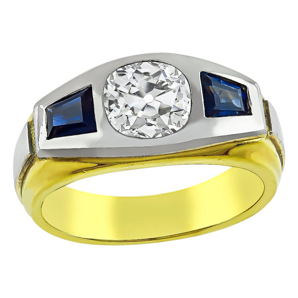 Old Mine Cut Diamond Sapphire 18 Karat Yellow and White Gold Ring