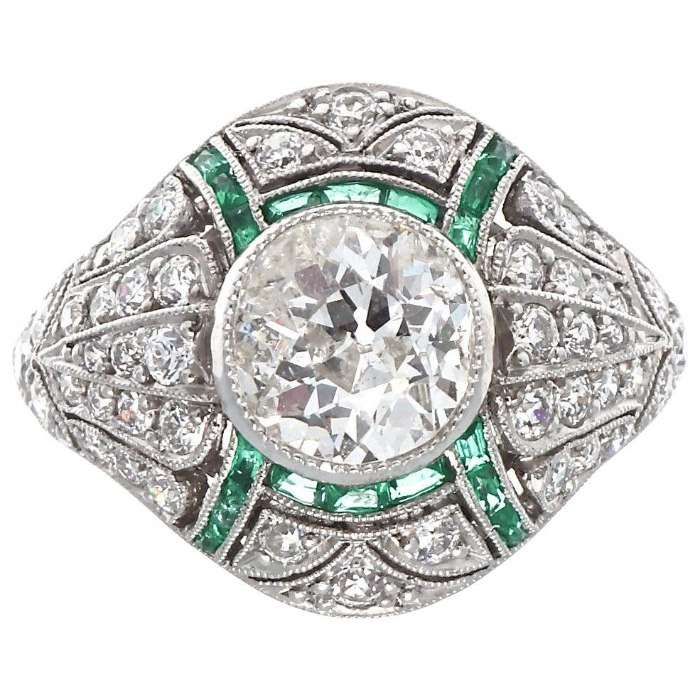 Art Deco Style 1+ Carat Diamond Emerald Platinum Engagement Ring