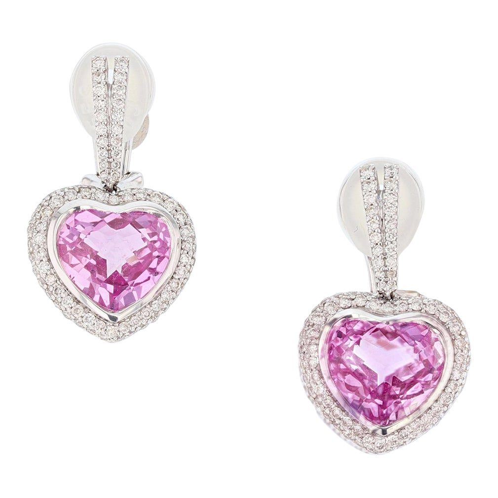 18 Karat Gold Pink Topaz and Diamond Heart Earrings