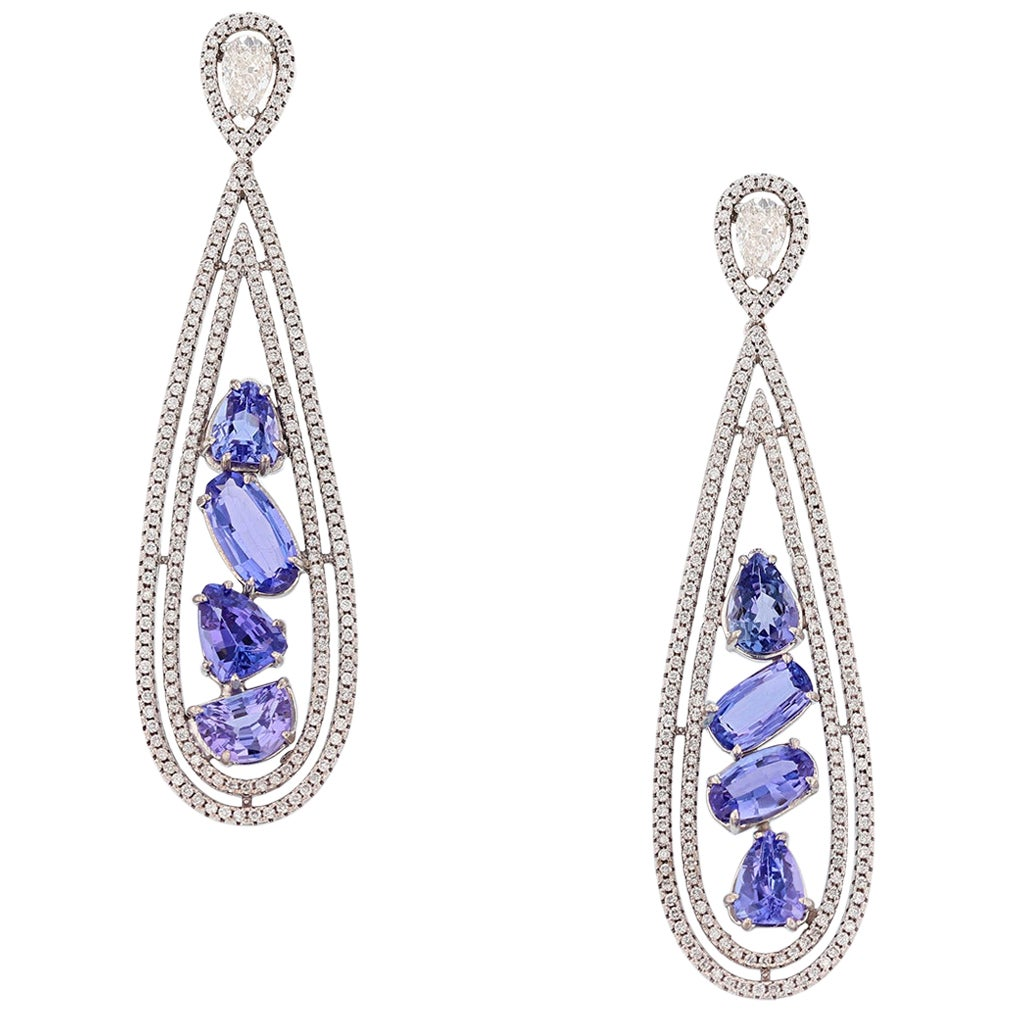 14 Karat Gold Tanzanite and Diamond Earrings