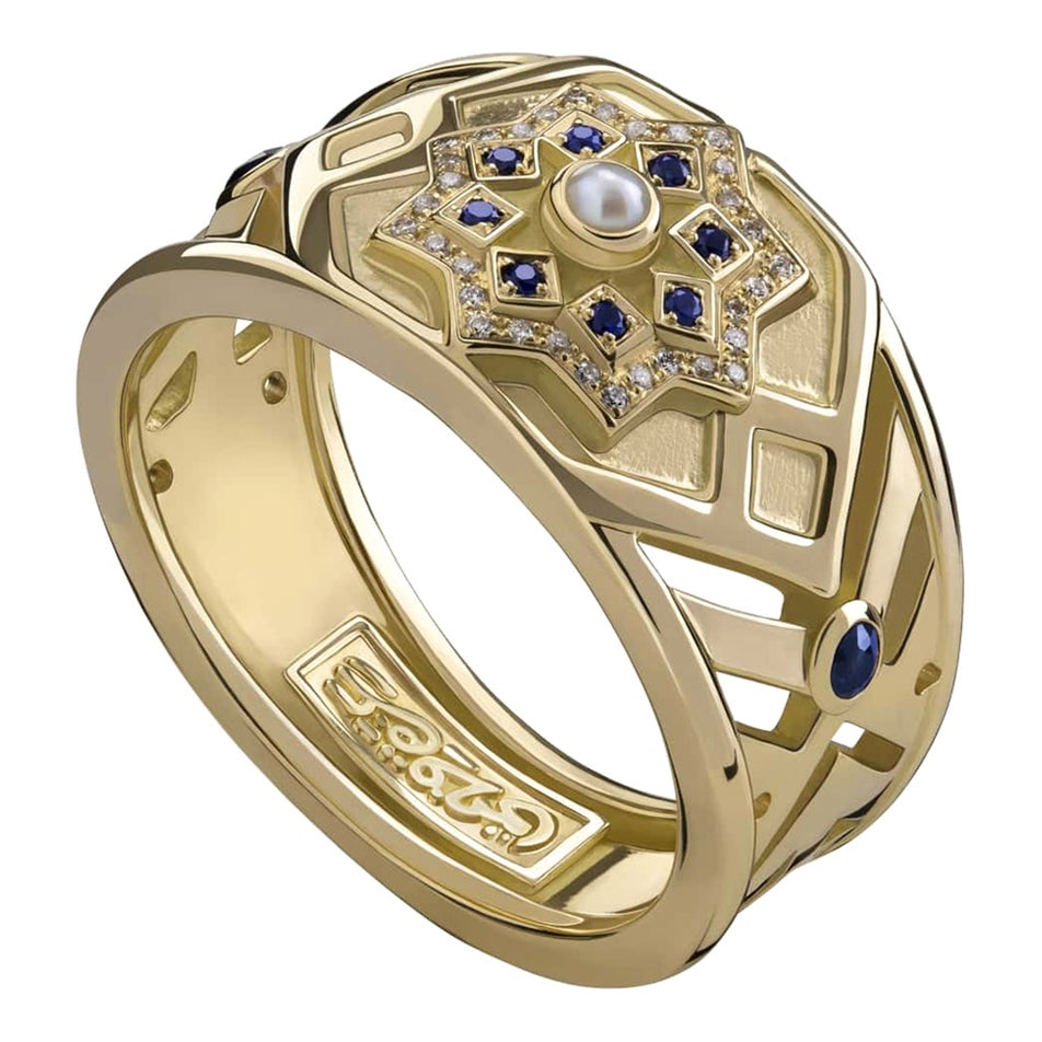 18 Karat Gold, Pearl, Sapphire and Diamond Mamluk Qalawun Ring