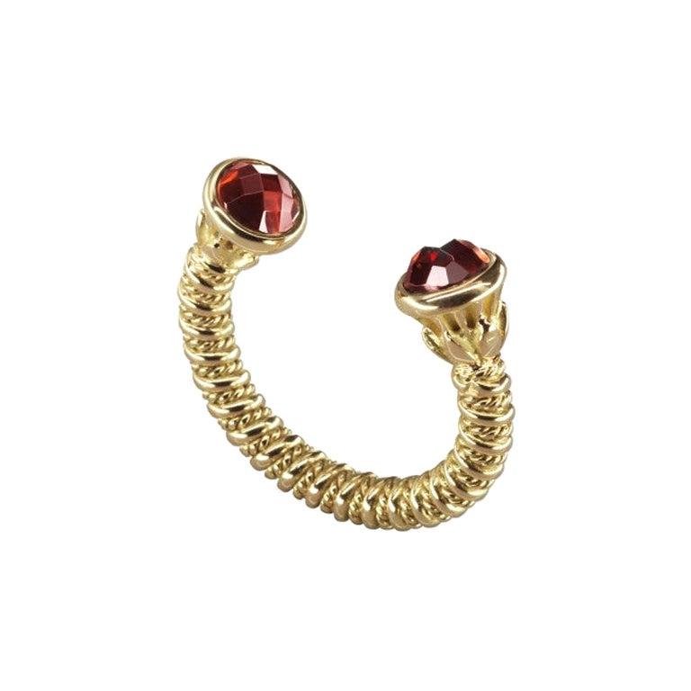 18 Karat Gold and 3.50 Carat Garnet Limited Lotus Coil Ring