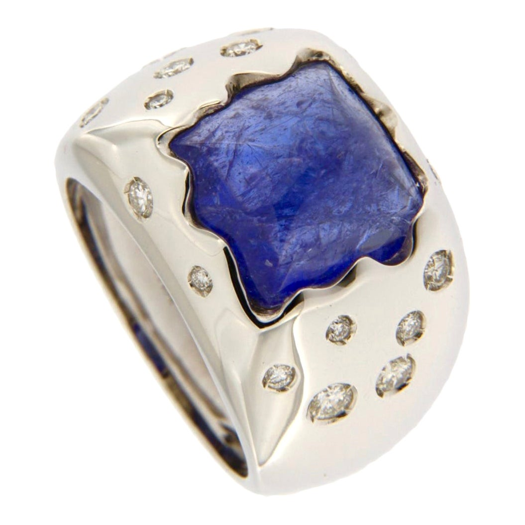 Jona Tanzanite White Diamond 18 Karat Gold Band Ring