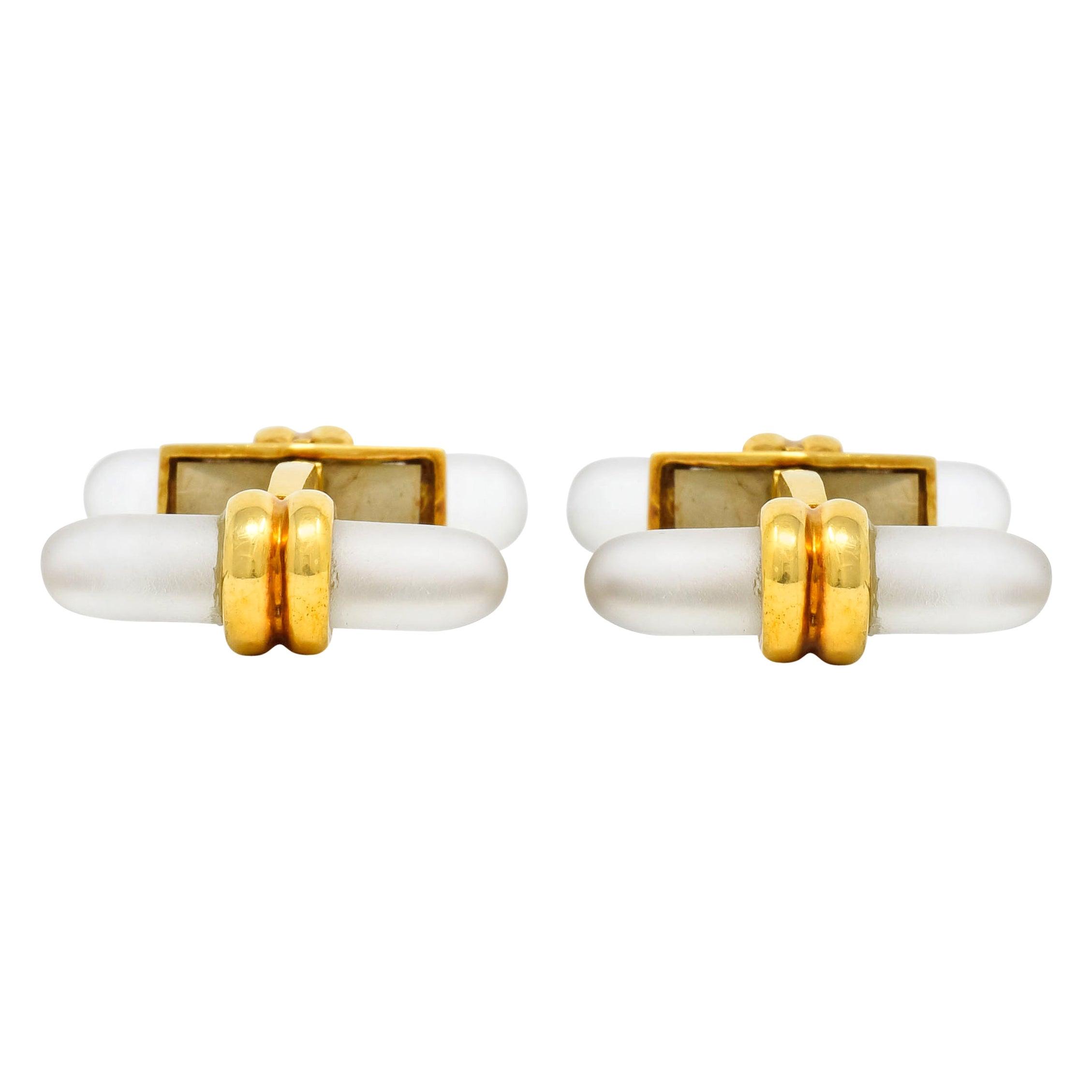Tiffany & Co. French Rock Crystal 18 Karat Gold Men's Cufflinks