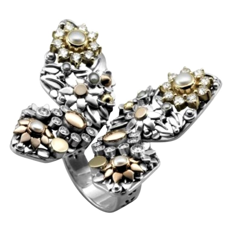 18 Karat Gold, Sterling Silver, Cultured Pearl and Diamond Butterfly Ring