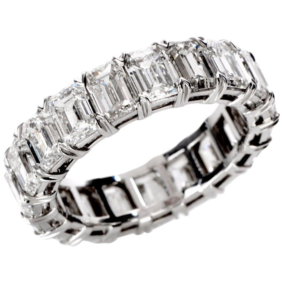 GIA Certified 8.02 Carat Emerald Cut Diamond Platinum Eternity Band Ring