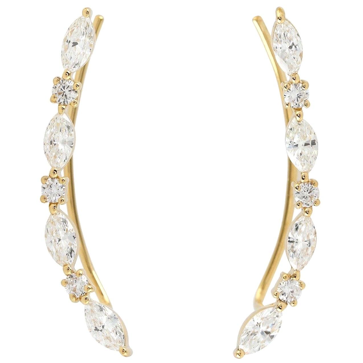 18 Karat Diamond Ear Climbers Earrings