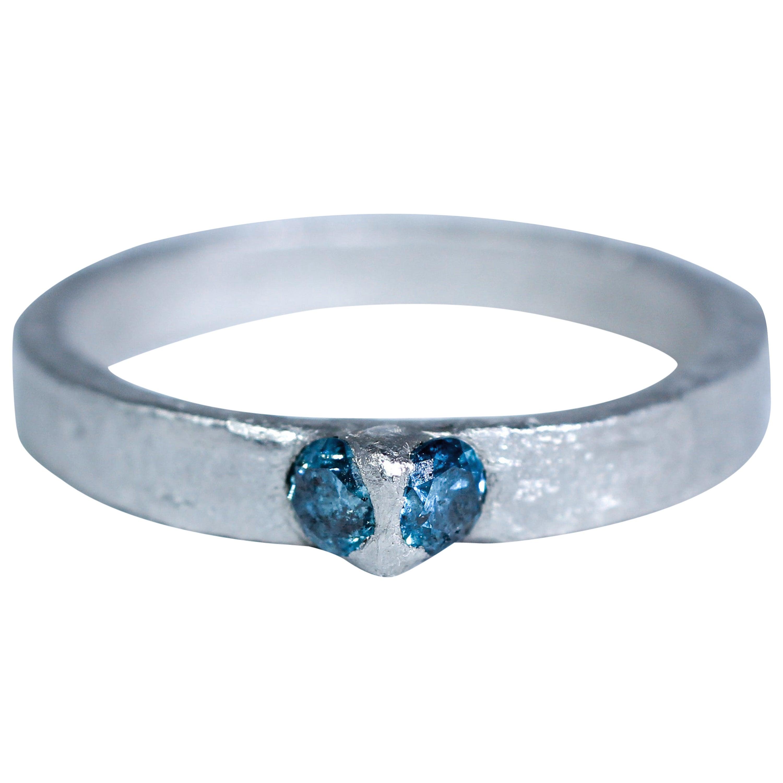 Blue Color Diamonds Platinum Alternative Engagement Bridal Handmade Ring