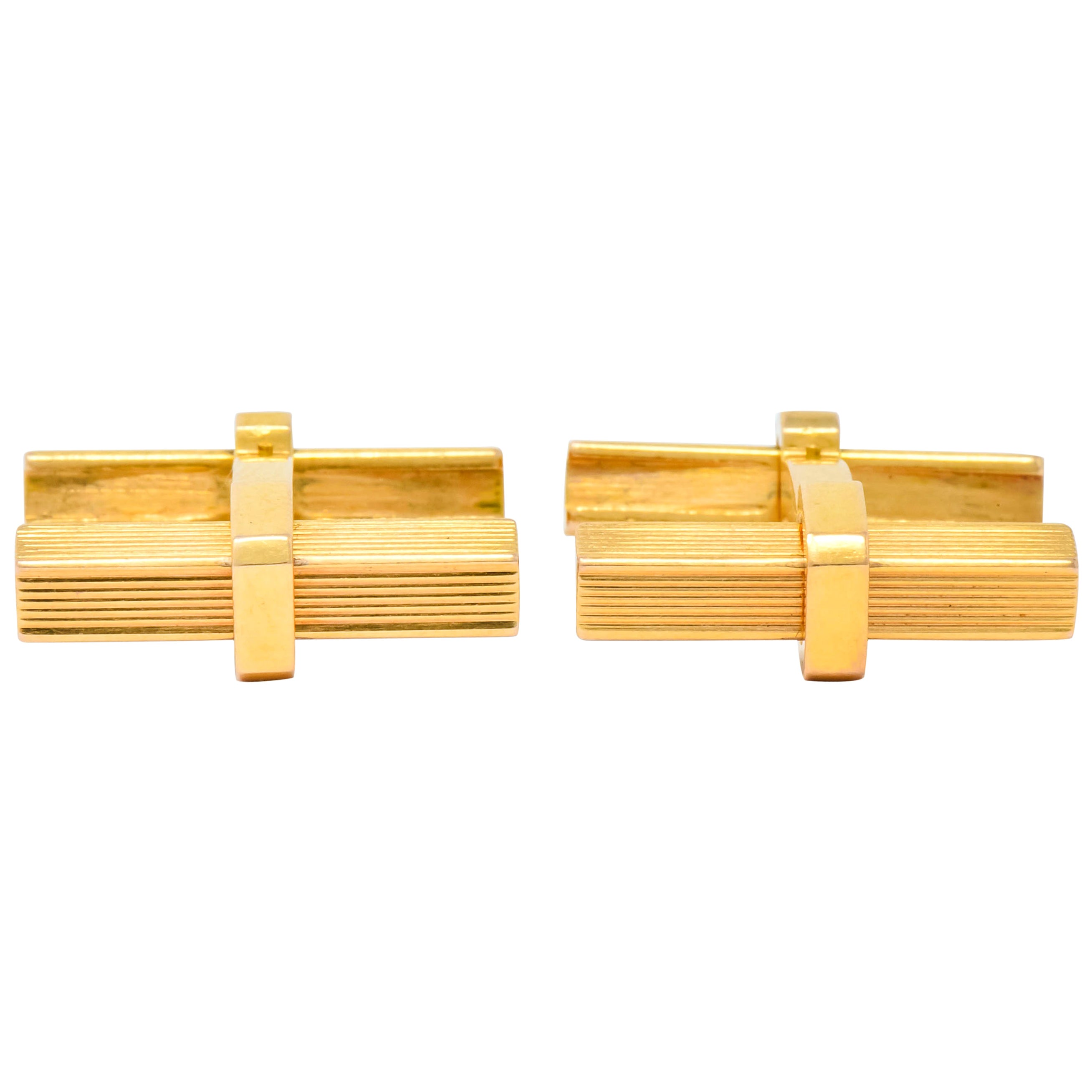 Vintage 1960s French 18 Karat Gold Men's Articulated Bar Cufflinks